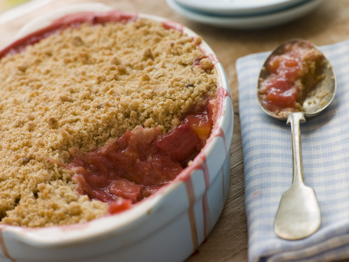 free from rhubarb and raspberry crumble